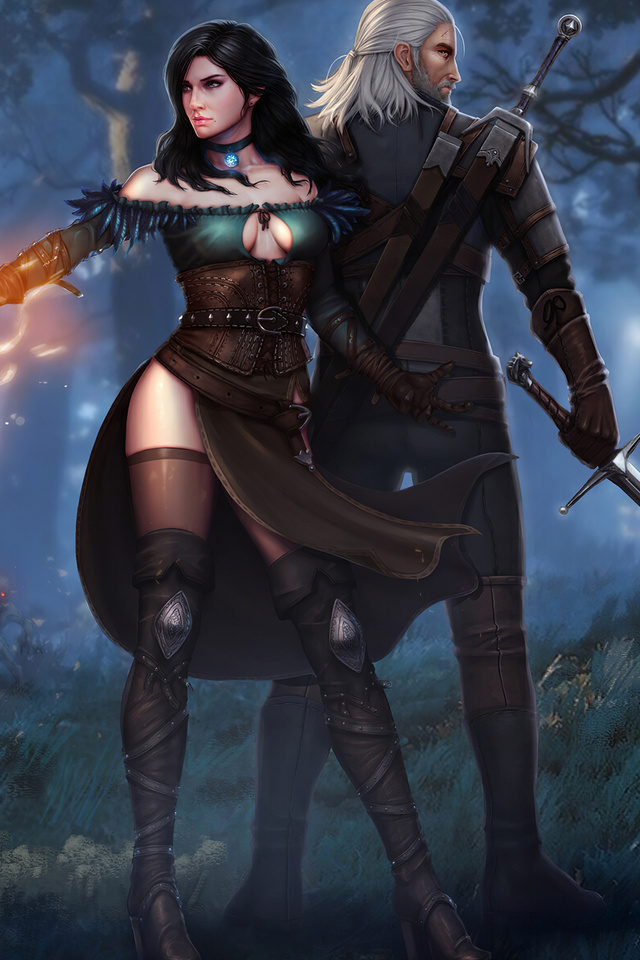 @sweetsugardemon @shiroyassha witcher-3-wild-hunt-geralt-yen-and-ciri-4k-8g-640×960