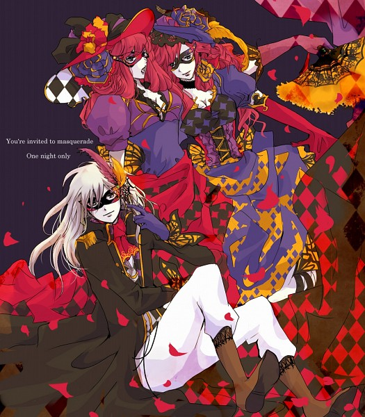 *Jean, Leo and Hikari post for a photo that would become a poster for a masquerade ball at Foxflame
