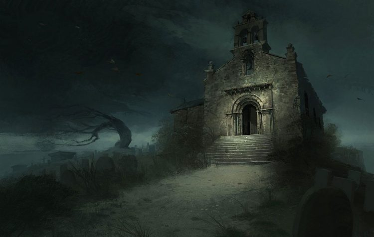 *A strange lime green light was glowing in the abandoned church within the borderlands. Several bodi