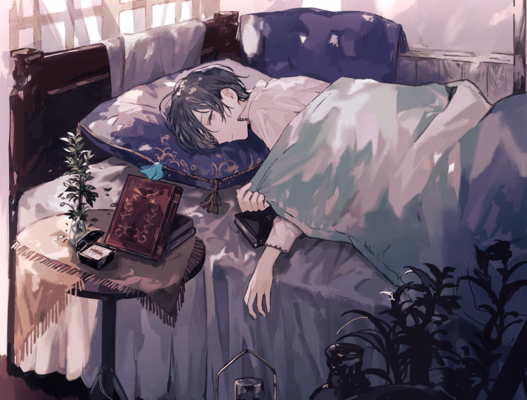 hmm… *he woke up from his bed, today is sunday he want to enjoy his times to rest at home* i h