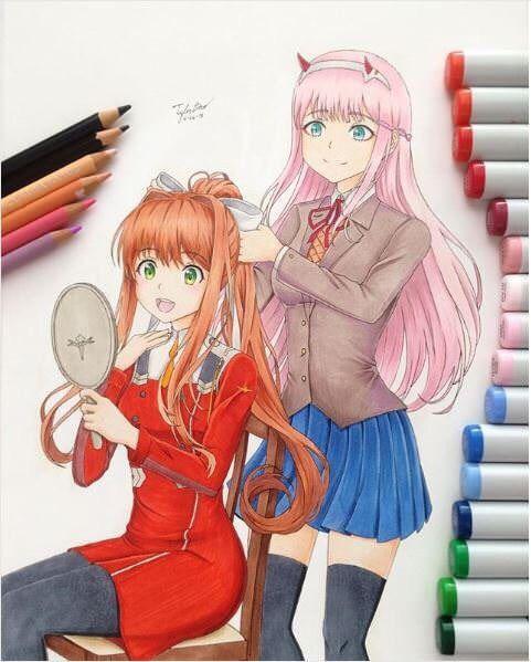 *An artist draws Monika and Leviachan in the same room.* @presidentoftheliteratureclub @leviachan 96