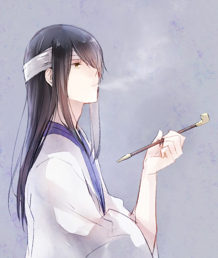 *While moving boxes, Katsura decides to take a break. He stands outside and lights his kiseru.* This