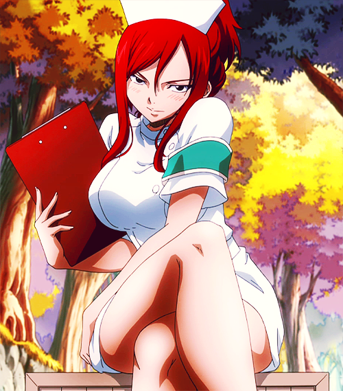 @meaperrary erza scarlet naughty nurse outfit fairy tail guild anime gif image picture