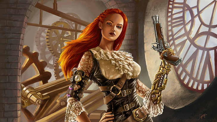 *watches her try on one of the outfits.* @darkphoenix sci-fi-steampunk-girl-green-eyes-wallpaper-pre