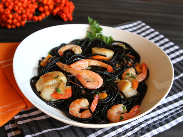"""*Introducing the Halloween menu* """"Black Pasta with Shrimp and Mussels"""" 38B6973A-A9C9-48A2-9D2D-5"""