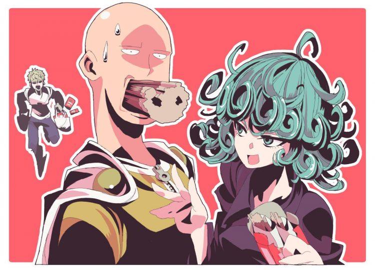 *Enjoying pocky at the candy shop with Saitama.* You saaaaaaaaaaaaaid, you could eat many at time, l