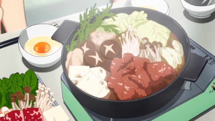 *Stops into the restaurant and notices the main course is Sukiyaki.* mmmm, do delightful! *takes a s
