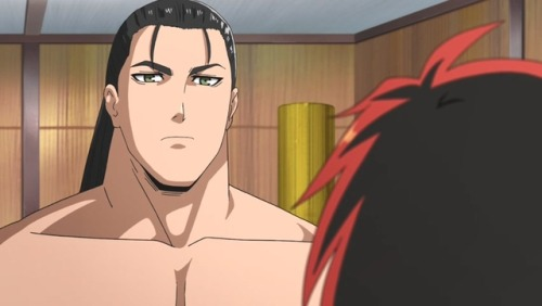 *He stands in a sumo wrestling training room with Ushio.* Are you ready to train against me today? *