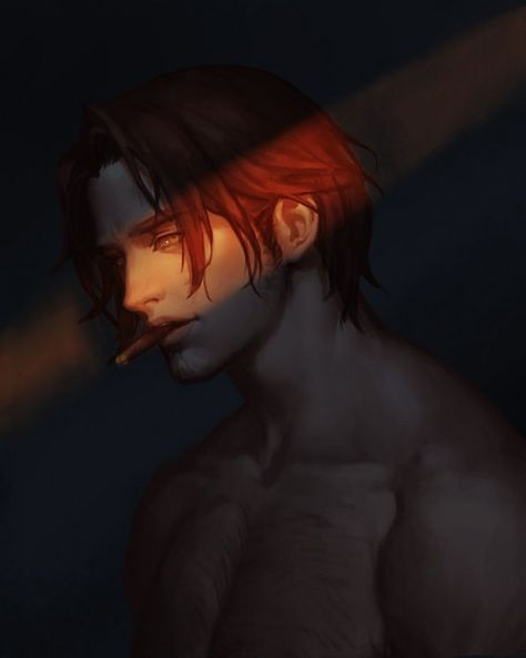 *He was practically in the shadows and got a cigarette from Leo, he lit it and looked over to him.*