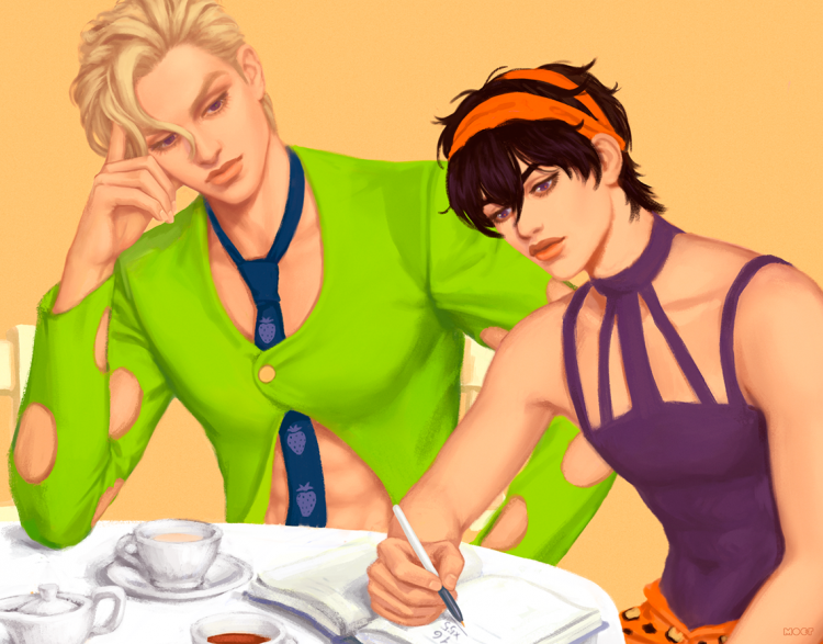 *School did have it's perks. After class doing homework with Fugo, he had noticed that he was