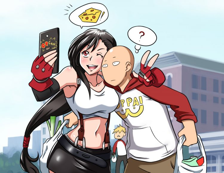 *Helena bumps into her nephew-in-law in Akiba.* @one-punchman Let's get a selfie together! heh