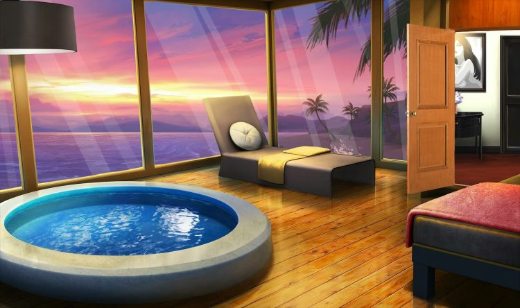 *She then brings lady Red to relax at the beautiful hot tub room.* It's ready for you. *She sm