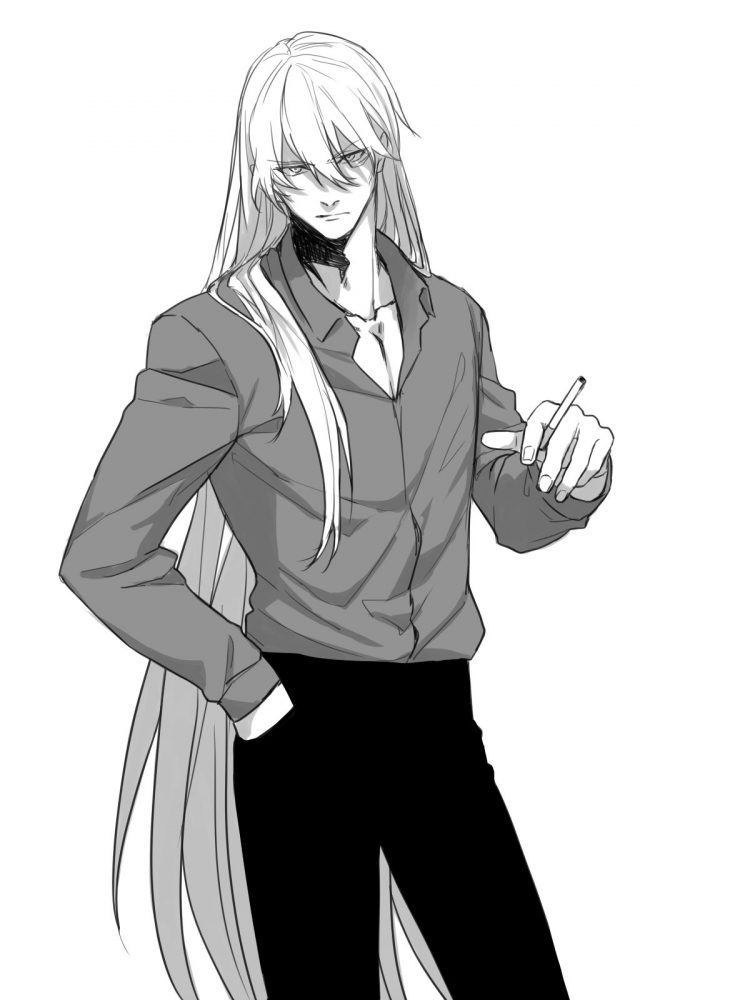 *Outside, somewhere behind the 13th Bureau's building, Leo was having a smoke when he noticed