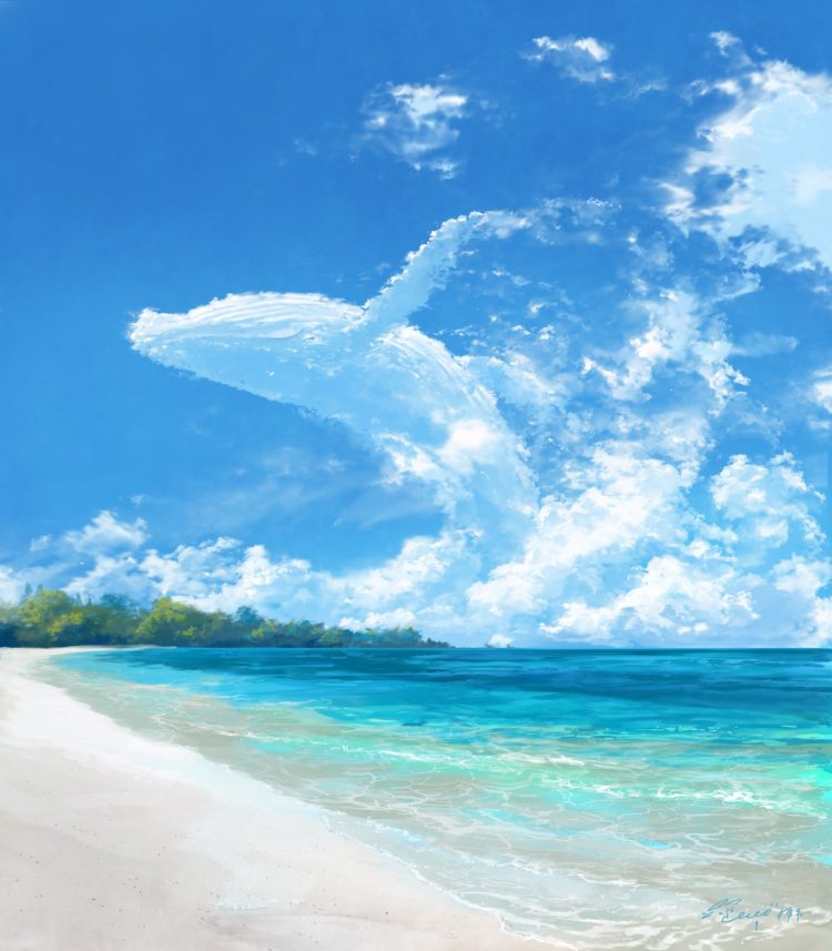 *he lay on the beach while looking at the beautiful sky enjoying the smell of the sea and the hot su