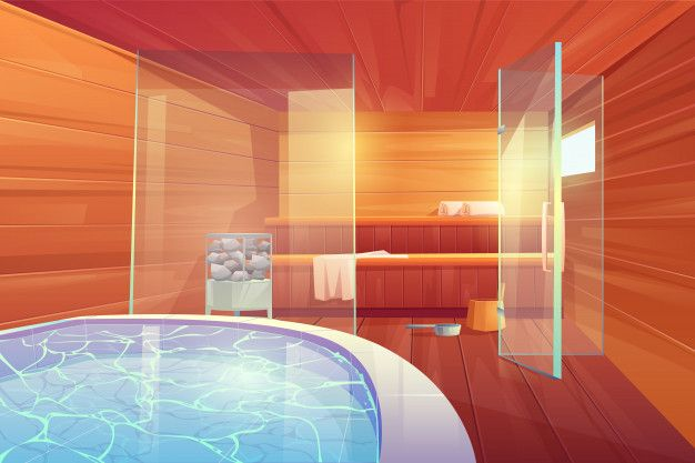 *She leads some guests to the spa/sauna area.* This is it! Please enjoy! *she bows and smiles as she