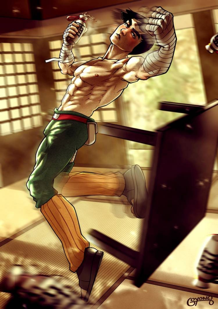 *Rocky had been training so vigorously he didn't realize he had knocked over a table.* Oh damn
