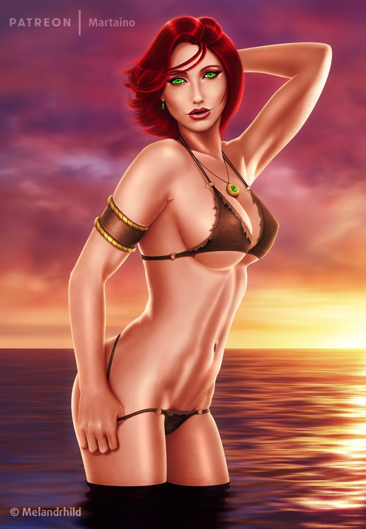 @satanascorpioneregina *Demona's short flame colored hair was a perfect contrast to the backgr