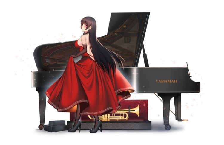*In a seperate room she practices her piano playing.* __isokaze_kantai_collection_drawn_by_kitsune_u
