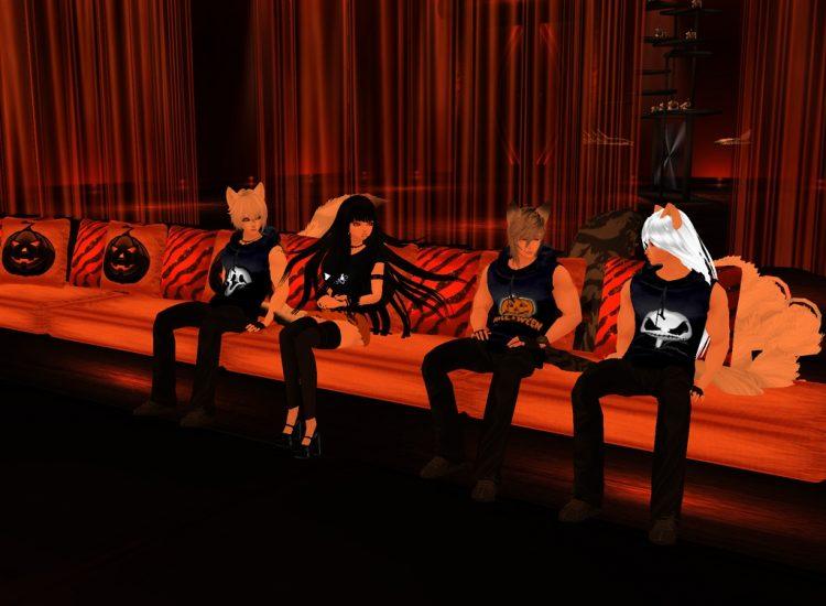 *Lounging around a Halloween-themed room.* @ginstunetama @hellgirl-aienma @haiirostunetama kitsunean
