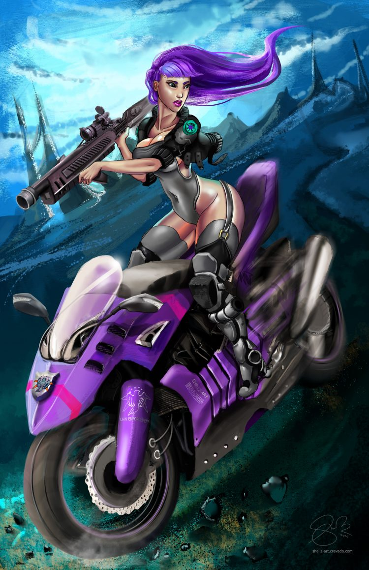 *Afterwards she goes for a drive on her motorcycle but suddenly a car passes by her at an incredible