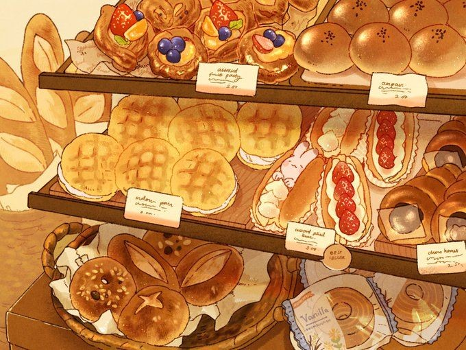 *Setting up bakery goods while Rintoki is working hard baking goods in the bakery's kitchen.*
