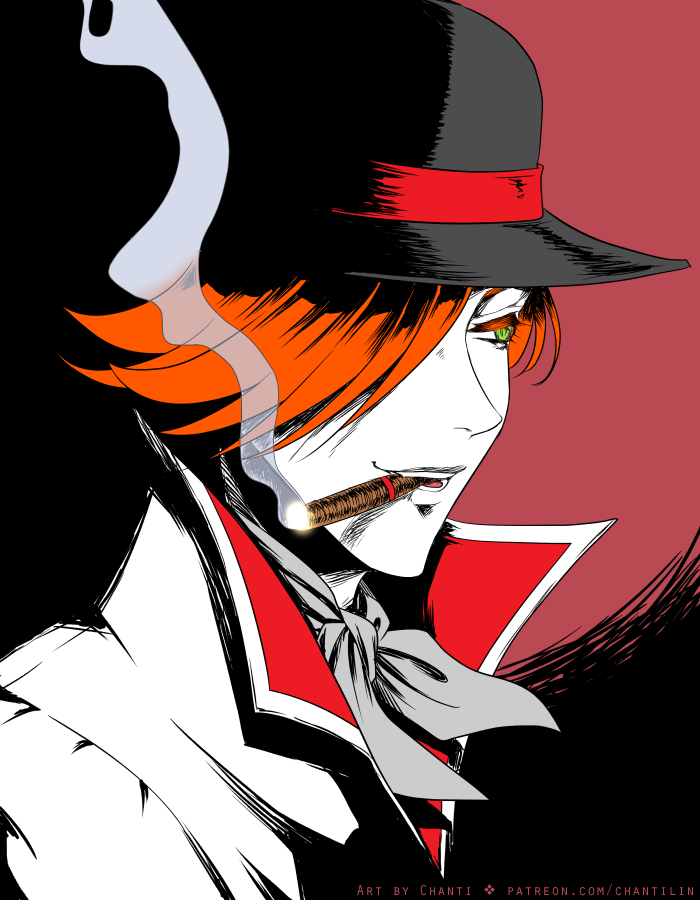 *He reaches the bus stop and as he waits, he lights up his cigar and puffs of smoke can be seen arou