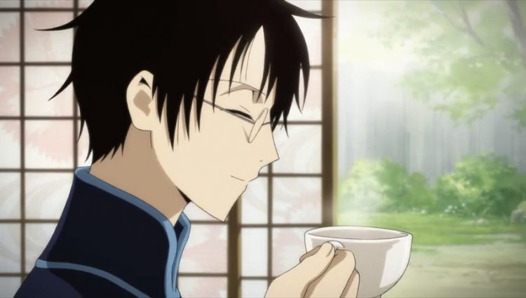 *He eat manju and drink tea while looking at the rabbit without care outside problem* This is nice j