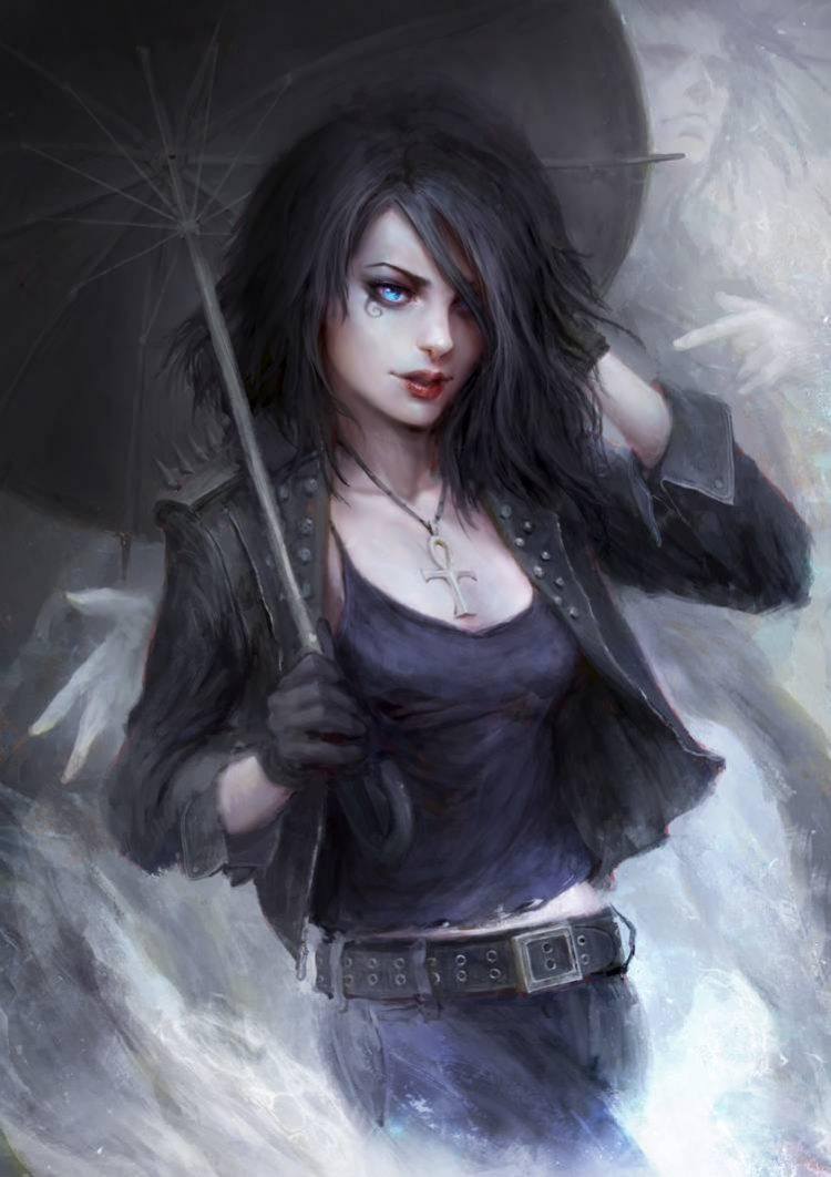 *She posts for a line of gothy umbrellas.* pg9firy93if41