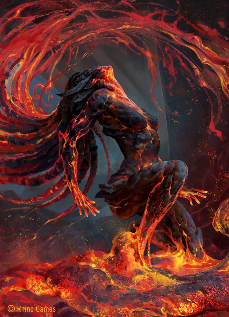 *Vexed by the interruption of her leisure time. She emerges from the lake of lava and looks over to