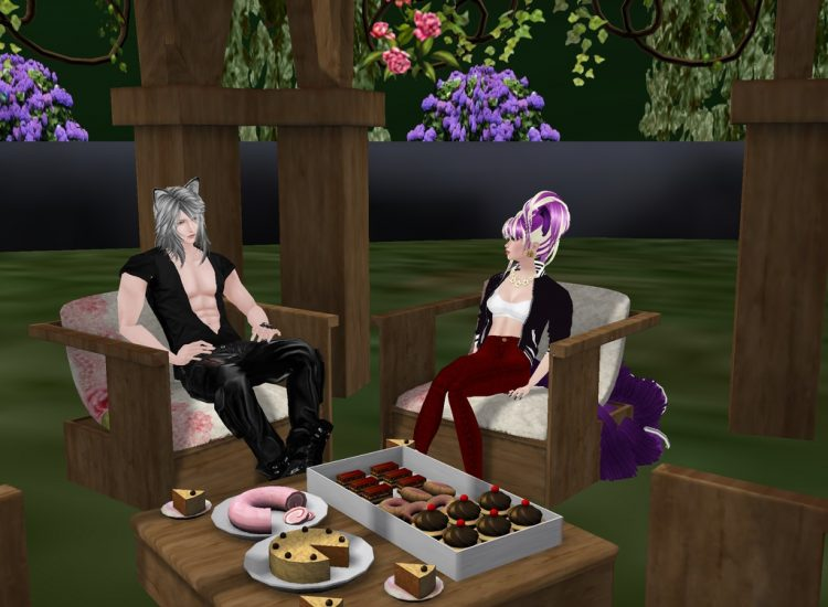 *Enjoying some sweets in the backyard of the bakery with his wife Ren.* @purpledemonflame leoandrenb