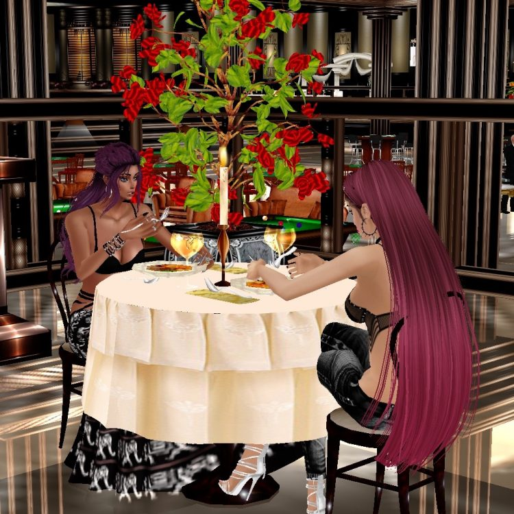 *After a good few hours of casino night, they visit the fancy restaurant to have some dinner* @promi