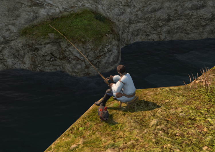 *Since he don't have money anymore he is looking for food by fishing near village river* sigh&
