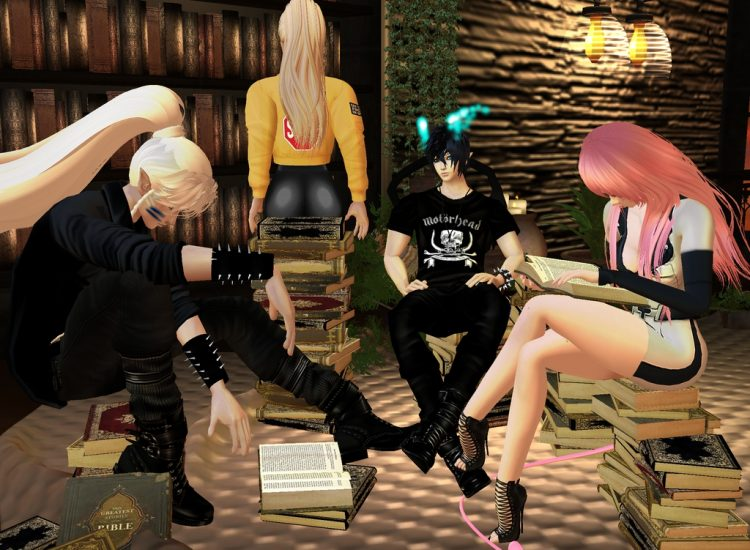 *Sesshomaru, Alfonsina, Myuu and Rintoki stop at the Sugar Campus Library Cafe to have some coffee w