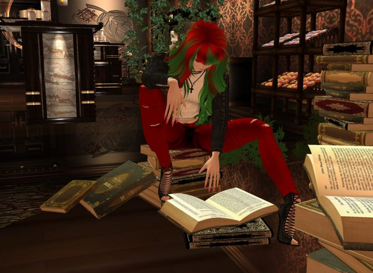 *Studying some of the books there to add information to her database.* These on hotel businesses is