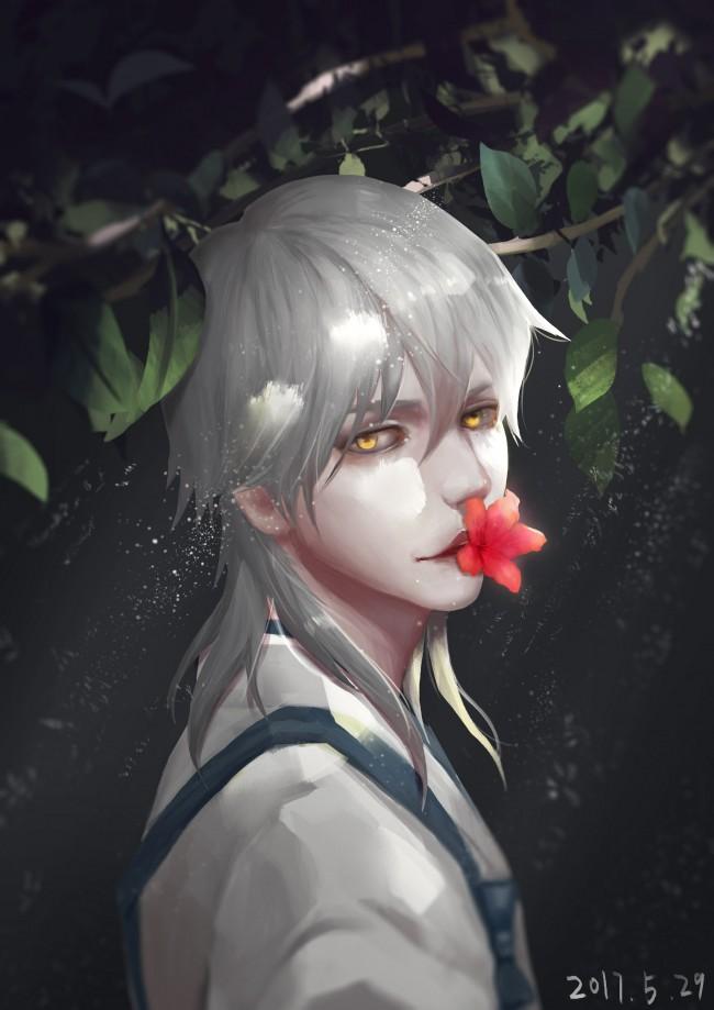 @alma-plateada tsurumaru-kuninaga-touken-ranbu-anime-boy-white-hair-semi-realistic-anime-36662-resiz