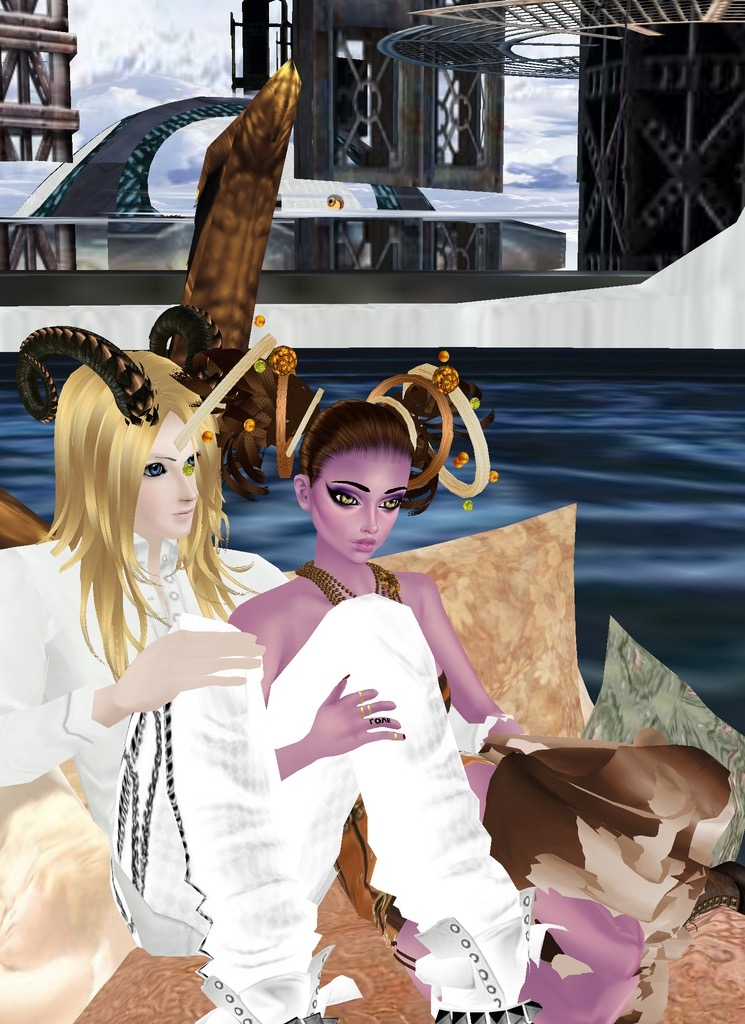 *After their delicious treat, Noloty invites Kin to Space Station Avalon. They first ride on a trans
