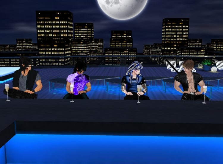 *They head upstairs to the rooftop bar, the moon is perfectly shining on their fun-filled drinking n