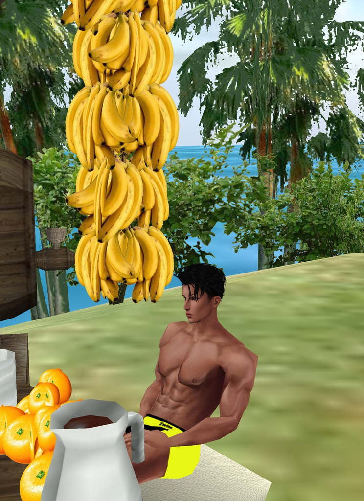 *He finds a spot at the beat to hang his precious bananas.* Oooh they look beautiful against the blu