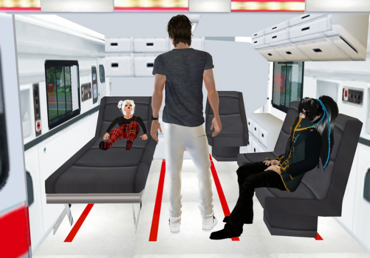 *Opens the back of the ambulance and sees his uncle worried while Ginko seems calm. He tells her the