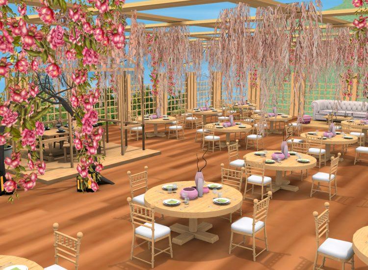 Sakura Lane Park's Pavilion is a resting area to enjoy juice, tea and snacks. The place specia