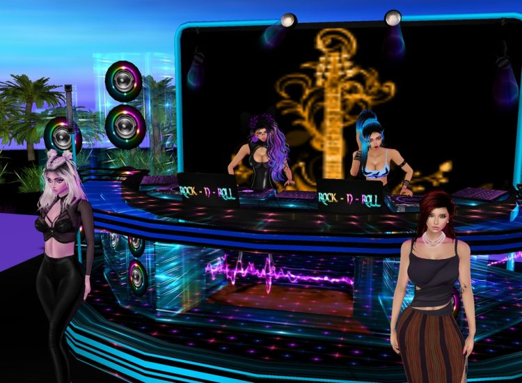 *Kaname and Yukiko djing for the models on the catwalk / runway at the modeling agency's rooft
