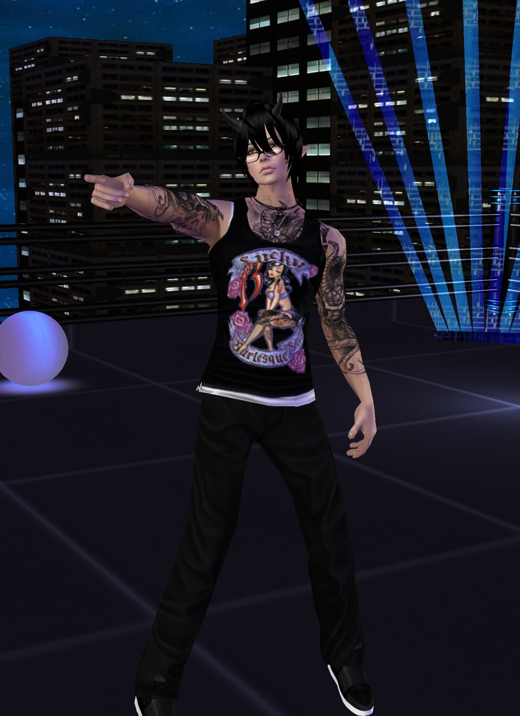 Oh yeah! I see you all partying over there! *he waves and then laughs and points at them.* We'